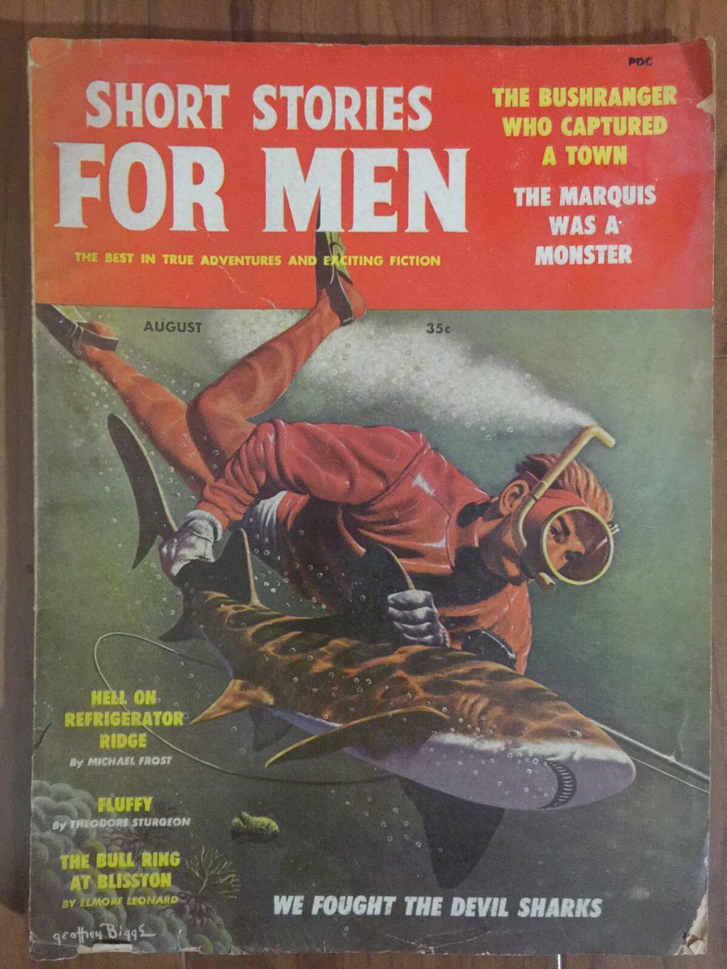 1959 Feb last issue (bedsheet-size) issue of Short Stories mix of reprints and originals, features stories by Elmore Leonard and Theodore Sturgeon